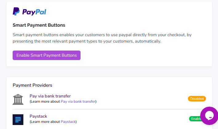 Setting payment method on Tradift